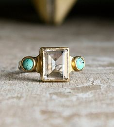 Turquoise and Emerald cut Clear Quartz in sterling silver and gold vintage style ring-made to order Crystal Jewelry, Sterling Silver Jewelry, Antique Jewelry, Vintage Jewelry, Handmade Jewelry, Crystal Ring, Quartz Clair, Jewelry Box, Jewelry Rings