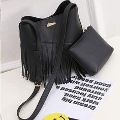 Women's Tassel Fringe Fashion 2-PC Crossbody Handbag Wallet Set 5 Colors