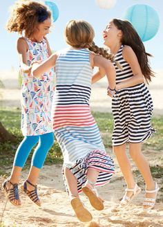 Girls Striped + Sailboat Dresses   Lands' End