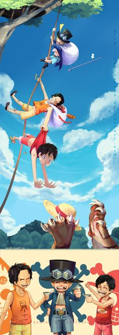 "Luffy Brother Ace | OP: Ace Sabo Luffy ""Brothers"" by Yamineftis on deviantART"