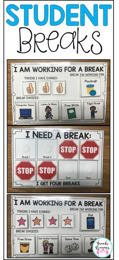 Allowing students to earn or take breaks throughout the school day is important. Student's can earn leveled breaks based on behavior. This student break product is full of helpful ways to set up student breaks. Autism Classroom, Special Education Classroom, Kindergarten Classroom, Future Classroom, School Classroom, Classroom Ideas, Classroom Supplies, Social Emotional Learning, Social Skills