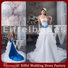 Wholesale Fashionable Royal Blue and White Wedding Dresses 2014 with Sexy Sheer Bling Beads Pearls Lace Strapless and Stunning Bow Draped Bridal Gowns, Free shipping, $158.83/Piece | DHgate Mobile