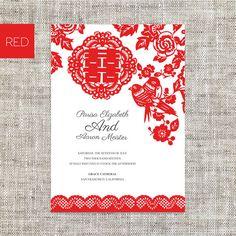 DIY Printable Editable Chinese Wedding Invitation RSVP by ImLeaf