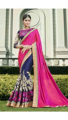 Pink And Navy Blue Georgette And Jacquard Saree With Blouse - DMV10845