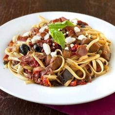 Roasted Eggplant Linguine with Prosciutto and Sun-Dried Tomatoes