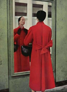 Jeanne Lanvin - Castillo 1952. Magnificent Red Wool Coat. Less Structured style a newer introduction.