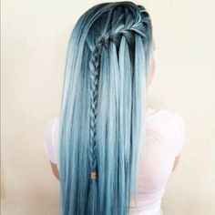 cool, blue hair, cute, fashion, dyed hair, girl, hairstyle