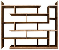 Designed to maximize the amount of display area, this Bamboo shelving unit creates a variety of different sized surfaces. The asymmetrical layout of the