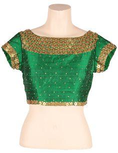 Green saree blouse with metal work