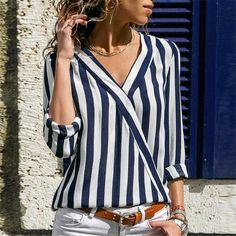 Women Sexy V-Neck Striped Blouse Shirt Summer Casual Long Sleeve Work Blouses Ladies Elegant Irregular Office Shirts Tops Blusas - Navy Blue XL Striped Long Sleeve Shirt, Long Sleeve Shirts, Pantalon Slim Noir, Bluse Outfit, The Office Shirts, Trend Fashion, Short En Jean, Long Blouse, Casual Tops