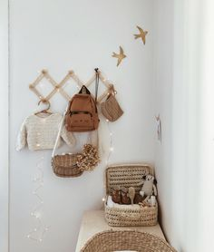 Cute changing corner🖤 by PS., the swallows will arrive soon at our warehouse💫 Baby Bedroom, Nursery Room, Kids Bedroom, Vintage Nursery Decor, Baby Room Decor, Brick Wall Decor, Nursery Inspiration, Nursery Ideas, Nursery Neutral