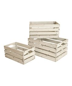 Wald Imports White Washed Distressed Storage Crate Set   zulily