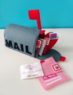Felt Valentines Mailbox Playset is part of Felt crafts Valentine - Send a little love this year with a Valentine's felt mailbox and love letters Valentine Day Boxes, Valentine Day Crafts, Be My Valentine, Kids Valentines, Diy For Kids, Crafts For Kids, Fall Crafts, Craft Projects, Sewing Projects