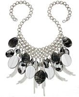 Style&co. Necklace, Silver-Tone Black Multi Bead and Chain Fringe Frontal Necklace