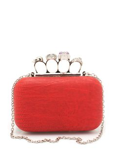 red skull ring snake knuckle clutch