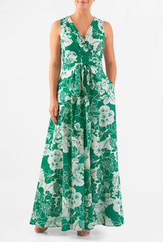 A surplice V-neck and a low cutout back with ties lends alluring sophistication to our floral print cotton maxi dress detailed with a pleated surplice bodice and a banded empire waist cinched in with a removable sash tie belt.