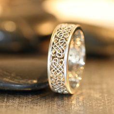 Celtic Wedding Ring 14k White Gold Unique Mens by LaMoreDesign #celticweddingringsjewellery #celticweddingringsunique