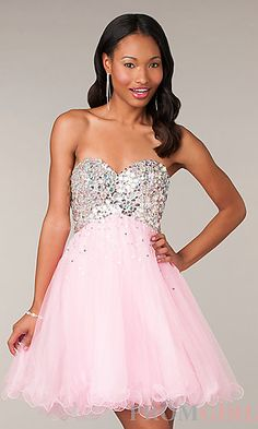 Mori Lee Pink Chiffon Strapless Beading Short Prom Dress - Short ...