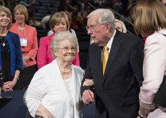 Elder M. Russell Ballard stands with his wife, Barbara, after the closing session of BYU Women's Conference held in the Marriott Center on May 1.