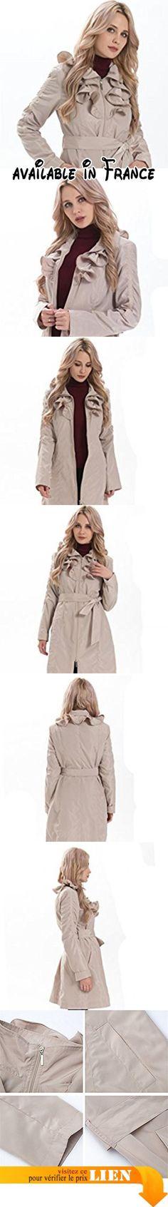 B073FF4181 : MS VASSA Femme Manteau Trench Coat Slim Fit Veste Vêtements 3XL Beige.