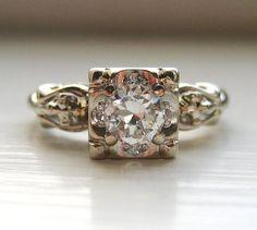 Vintage Diamond Ring Art Deco 14kt Old European Cut Diamond 1/3 ct