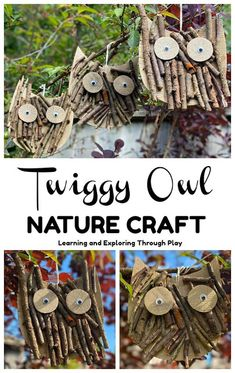 Learning and Exploring Through Play: Twig Owl Craft Forest School Activities, Nature Activities, Activities For Kids, Kids Nature Crafts, Forest Crafts, Twig Crafts, Summer Crafts, Fall Crafts, Owl Templates