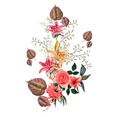 Birth Flowers, Bunch Of Flowers, Botanical Flowers, Vintage Flowers, Watercolor Flowers, Baroque, Rooster, Stencils, Christmas Cards