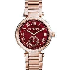 Pre-owned Michael Kors Skylar Bracelet Watch ($177) ❤ liked on Polyvore featuring jewelry, watches, accessories, bracelets, rose gold, roman numeral watches, preowned watches, bracelet watches, pre owned watches y bezel watches