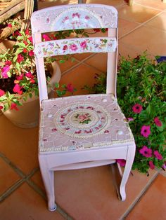 Mosaic Shabby Recycled Vintage Childs School Chair.