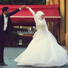 Мусульманский кристаллы свадебные свадьба платье длинная рукава хиджаб A линия высокая шея арабские свадьба платья casamento