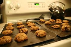 Lactation Cookies: to help increase your milk supply. My mom and sister made these for me... I was so engorged milk was pouring out with in 24 hrs.  I would eat one after every meal and 1 or 2 at night after a feeding.