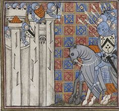 14th century helmet / helmets ( manuscript : BNF Nouvelle acquisition française 15940 Miroir Historial (Vol 2), Folio 69v, 1370-1380, France )