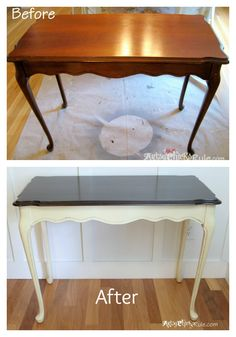 Before and After Minwax Polyshades-Annie Sloan Chalk Paint -- Super easy way to change the look of your furniture completely!