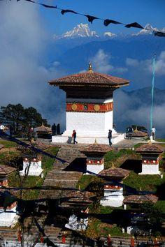 Dochula Pass, en la carretera de Thimphu a Punakha, Bhután