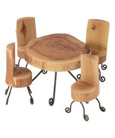 This Miniature Wood Table & Chair Set is perfect! #zulilyfinds