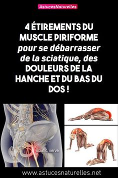 4 stretches of the piriformis muscle to get rid of sciatica, hip pain and lower back! Muscle Piriforme, Psoas Release, Acupressure Mat, Yoga Positions, Hip Pain, Running Workouts, Yoga Flow, Yoga Fitness, Yoga Poses