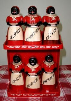 Aunt Jemima F F Plastic Spice Shaker Set Lustro Ware Red Rack 2 Tier Aunt Geraldine Had A Whole Collection Across Her Kitchen Wall