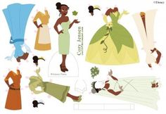 """Tiana paper dolls by Cory Jensen from Disney's """"Frog Prince"""""""