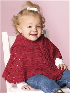 Sweetheart Poncho Crochet Pattern Download from e-PatternsCentral.com -- Get Little Miss all ready for Valentine's Day with this adorable Sweetheart Poncho!
