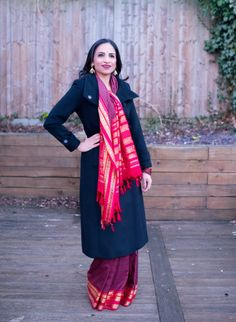 Sari Nostalgia: In a Checked South Indian Silk Sari - with a coat