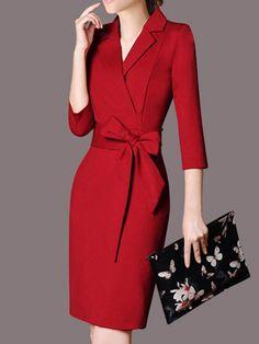 84a2fbddd51 Shop Midi Dresses - Lapel Long Sleeve Elegant Solid Polyester Midi Dress  online. Discover unique