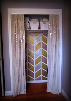 love this closet. Cool metallic herringbone paint job paired with sequined curtains, adorable