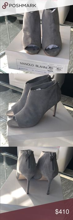 Worn Once! Grey Suede Manolo Blahnik booties 39.5 Amazing condition Grey Suede Manolo Blahnik peep toe booties. I wore them only once to dinner. Still have the box and dust bag with 995$ price tag still on box! These are beauties! Manolo Blahnik Shoes Ankle Boots & Booties