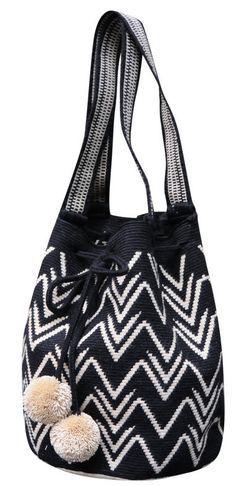 Black and White Boho Geometric Purse with Pom Poms // Wayuu Mochila Tote // MARIYA $195