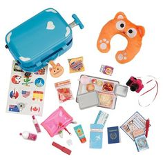 """""""Hard"""" Doll Suitcase & Lots of Accessories for """"International"""" Travel - Our Generation Home Accessory - Luggage Set $23 (Sale)"""