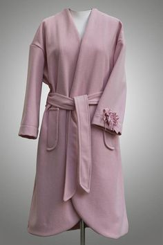 Frühlings Mantel, Rosa Mantel, Oversized Mantel, Mantel Wolle, Lange  Mantel, Asymmetrische