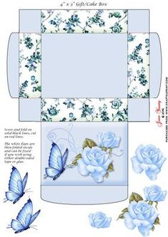 "Gift Cake Box Blue Roses on Craftsuprint designed by June Young - This gift/cake box is approx. 4"" x 3"" when made up and has floral side panels and a decorat3ed lid. It is very simple to assemble and there is decoupage provided for the flower and butterfly decoration on the lid. - Now available for download!"