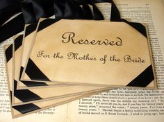 Luxury Reserved Wedding Seating Signs for Mother & Father of the Bride