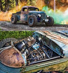 1937 International Truck with a under the hood A Hot Rod, Rat Rod, Trophy Truck, and Road-Worthy Toy All Rat Rod Cars, Hot Rod Trucks, Lifted Ford Trucks, Old Trucks, Chevy Trucks, Pickup Trucks, Dually Trucks, Rat Rod Pickup, Chevy Pickups