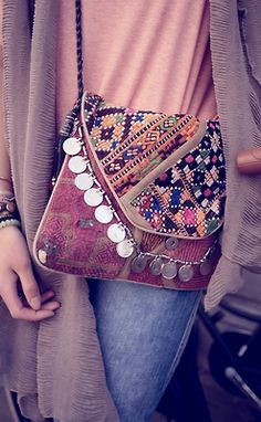 Boho chic embroidered purse with silver disk embellishments, modern Bohemian style fashion